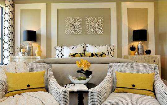 transitional-bedroom-taupe-black-yellow